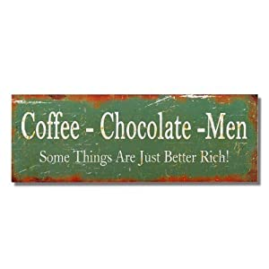 "carrotdnrl Decorative Wall Hanging Sign Plaque ""Coffee, Chocolate, Men"" Green Wall Hanging"