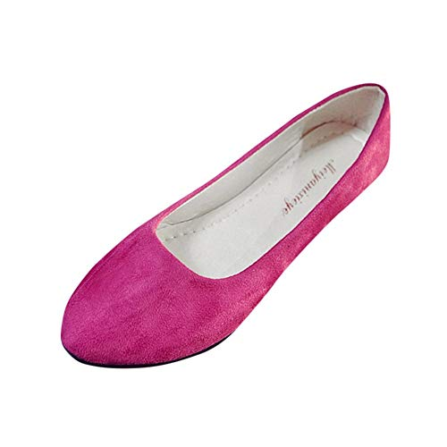 Aunimeifly Women Simple Solid Color Slip On Flats Ladies Round Toe Shoes for Work Casual Ballerina Shoes Sandals Hot Pink]()