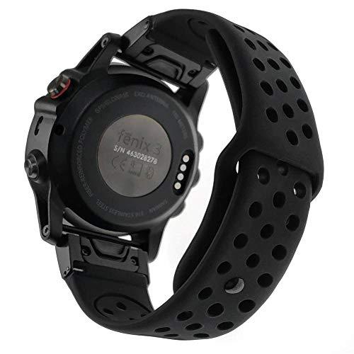 YOOSIDE for Fenix 5X/5X Plus Watch Band,26mm Easy Fit Soft Silicone Quick Release Replacement Band Strap for Garmin Fenix 3/3 HR/Fenix 5X/5X Plus/Quatix3/D2 Charlie/Mk1,Fit Wrist 6.1
