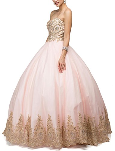 DarlingU Women's Ball Gown Sweetheart Quincenara Dress Appliques Formal Prom Evening Gowns Pink 6 ()
