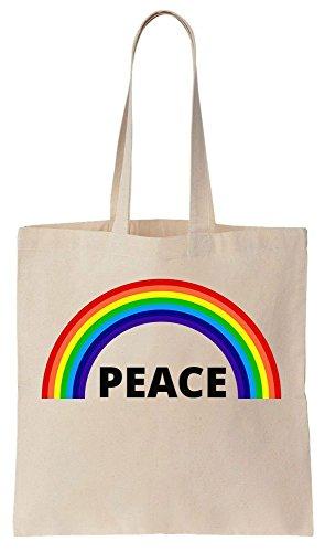 Peace Rainbow Gay Rights LGBT Sacchetto di cotone tela di canapa