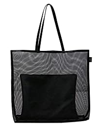 Fashion Large Mesh Shopper Shoulder Tote Bag, A Leather Zipper Bag Inside for Valuable Things, Simple Casual Style Shoulder Bag for Women, Family Storage Beach Bag, Black