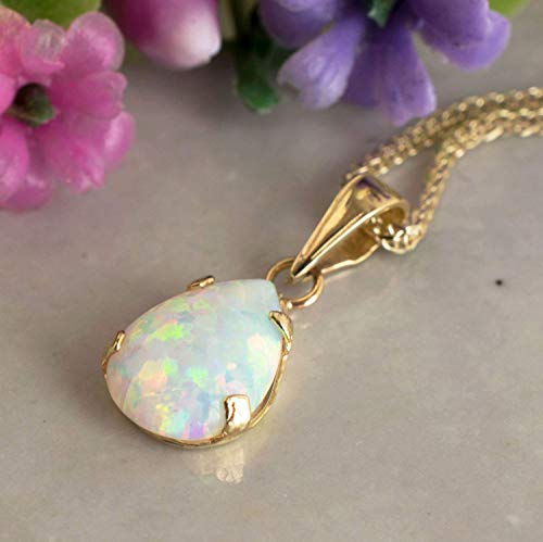 14K Gold White Opal Necklace - Dainty Pear-Shape Teardrop Pendant, 7x10mm 14K Solid Yellow Gold Necklace, October Birthstone Opal Gemstone - Handmade Bridal Wedding Jewelry for Brides and Classy Women (White Necklace Engagement)