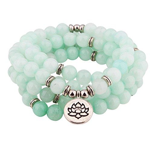 GVUSMIL Amazonite 108 Beads Mala Bracelet for Women Men with Lotus Pendant for Buddhist Prayer Meditation Japa Charm Healing Necklace