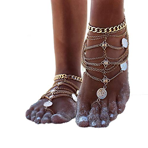 ZHENHUI 1 Pair Boho Vintage Silver Tone Gold Tone Coin Blessing Symbol Tassel Indian Anklets Foot Jewelry 2 Pcs (Gold Coin)