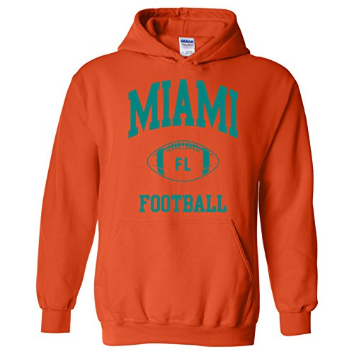 Dolphin Cotton Sweatshirt - UGP Campus Apparel Miami Classic Football Arch American Football Team Sports Hoodie - 2X-Large - Orange