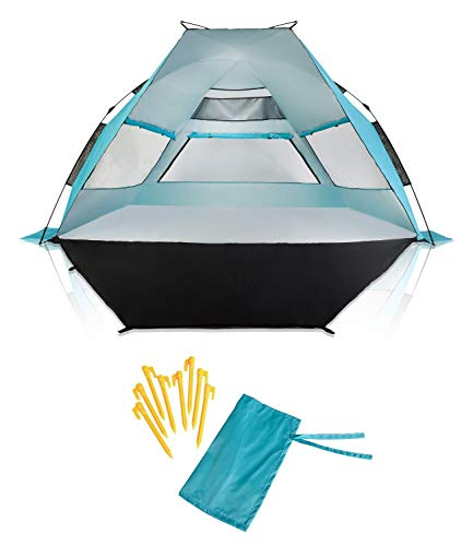 SuitedNomad XL Instant Beach Shade Tent with Sand Free Extendable Porch - Portable SPF UV Pop Up Sun Shelter Canopy with Easy Set Up and Windproof Construction (Caribbean Blue)