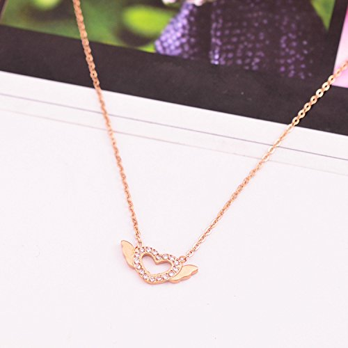 usongs diamond necklace pendant women girls angel eggs love 18k rose gold chain clavicle simple personality student Meng pet accessories