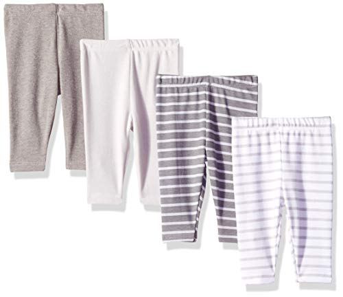 Hanes Ultimate Baby Flexy 4 Pack Knit Pants, Grey Stripe, 18-24 Months ()