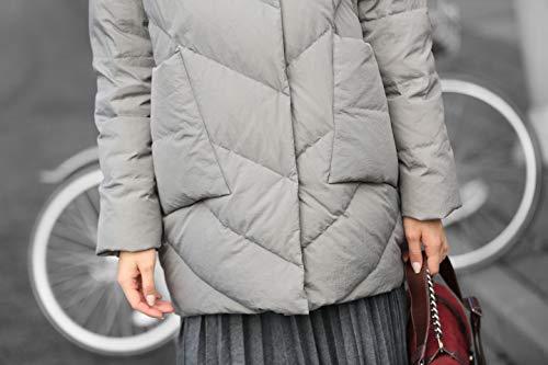 s Lunghezza Giacca A Fantasia Ginocchio Imbottito Pesanti Unici Impermeabile Casuale Inverno Neve Piumino Donne Bolla Di Trapuntata Di Stilista Grigia Cappotto Al Alla Fredde Vento Migliore Moda Caldo Sveglio Puffer qwFtx