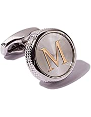 Digabi Men's 2PCS Fashion Dazzle Tuxedo Shirts Cufflinks Platinum Plated Cuff Button Alphabet Letter A-Z