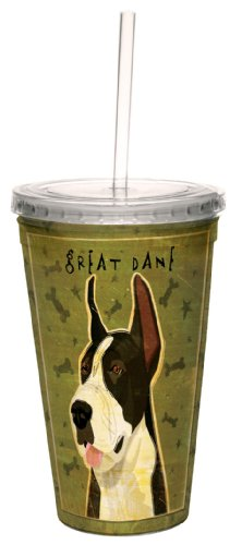 - Tree-Free Greetings cc34066 Black Great Dane by John W. Golden Artful Traveler Double-Walled Cool Cup with Reusable Straw, 16-Ounce