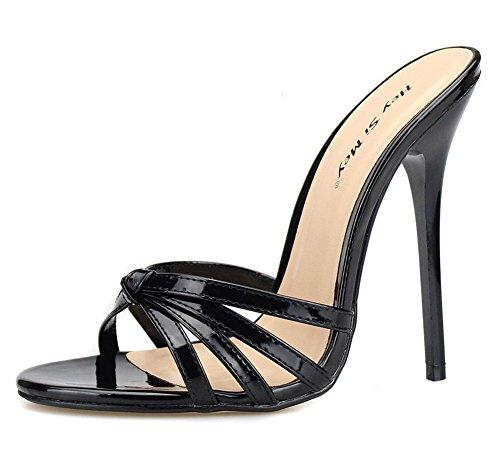 40 Black Summer Toe High Heel Ladies Slip Party Black On Slingback 49 Dress Peep Size ZPL Shoes Red Women's Stiletto Sandals Slippers v8HHpq