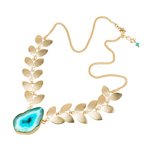 - Abbott Collection 51-RIO-NK-12603-TURQ Gold Leaf Drop Necklace-Turq-17 L Turquoise