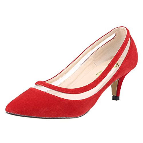 Toe Kitten Size 3 Red UK Transparent Shoes 11 Dress Women Pumps Fashion Heel suede Daily Pointy VOCOSI qgp01B