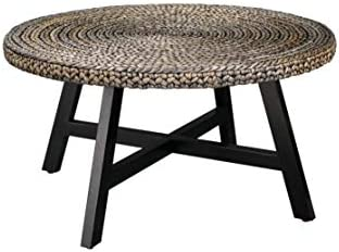 RANDEFURN Seagrass Round Coffee Table,Sofa Console Tables,Pine Wood X Base Frame End Tables