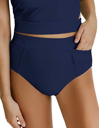 luvamia Women's High Waist Bikini Bottom Solid Swim Shorts Swimsuit Bottom Brief with Pocket Y Deep Blue Size XL
