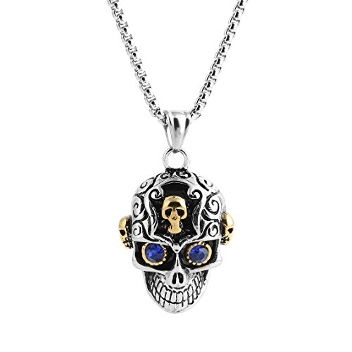 Dog Pirate Treasure Chest Costume (HZMAN Stainless Steel Sugar Skull Pendant Necklace for Man with Blue Cubic Zirconia with 24 in Chain)