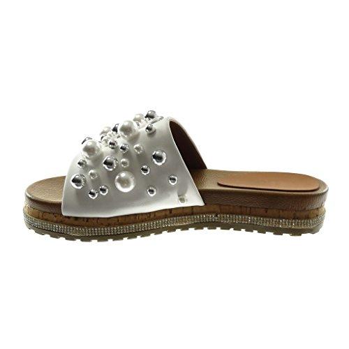 Angkorly Damen Schuhe Sandalen Mule - Slip-On - Plateauschuhe - Perle - Schmuck - Strass Keilabsatz 3.5 cm Weiß
