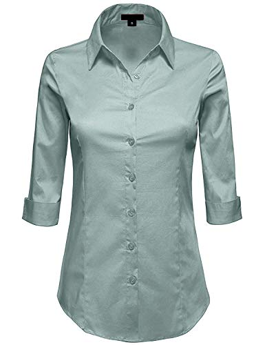 (MAYSIX APPAREL Womens 3/4 Sleeve Stretchy Button Down Collar Office Formal Shirt Blouse SAGE S)