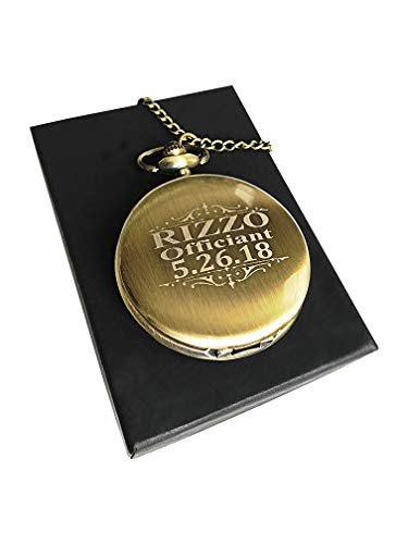 Engraved Pocket Watch - Wedding Groomsmen Personalized Unique Gifts - Chain, Box and Engraving All Included (Gold Vintage)