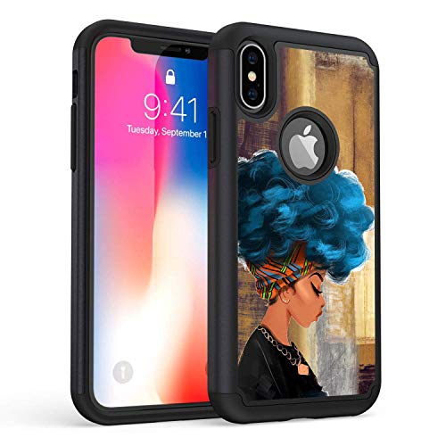 iPhone XR Case,Rossy Heavy Duty Hybrid TPU Plastic Dual Layer Armor Defender Protection Case Cover for Apple iPhone XR 6.1 (2018),African Women with Blue Hair
