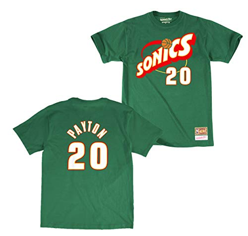 Seattle Supersonics Fan - Mitchell & Ness Gary Payton Seattle Supersonics Retired Player Name & Number Green T-Shirt (Medium)