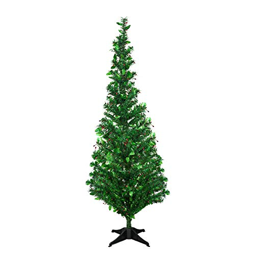YuQi 5 Foot Green Tinsel Christmas Tree,Artificial Christmas Tree with Leaves Shimmering Sequins ()