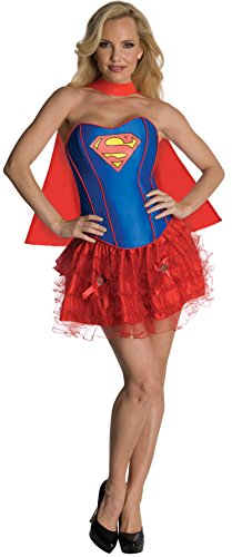 Red Corset Tutu Adult Costumes Dress (Secret Wishes DC Comics Supergirl Corset And Tutu Costume, Red/Blue, Small)