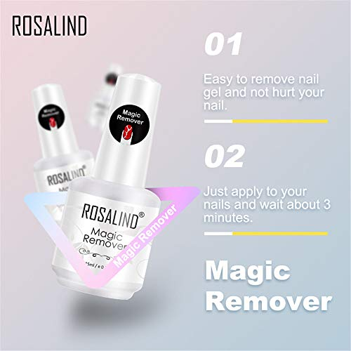 ROSALIND Gellack Entferner Set für UV Nagellack Magic Remover Aceton Peel Off 2 Stück 15ml Kit Schnelles Entladen