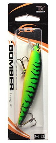Bomber Long A Fishing Lure, Bengal Fire Tiger, 3 1/2-Inch, 3/8-Ounce (0.375 Ounce Tiger)