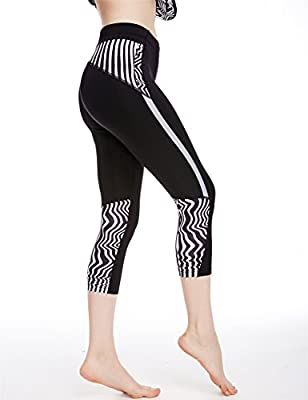 icyZone Women's Workout Capri Leggings Fitted Stretch Tights With Zip Pocket
