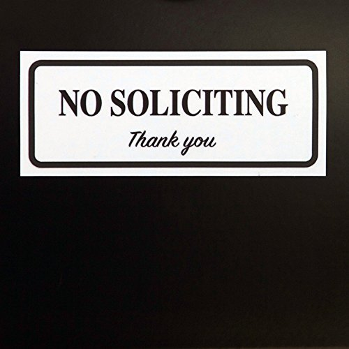"No Soliciting Sign by LK Factory - 2"" x 5"" Self Adhesive Black on White Vinyl Sticker for Outdoor & Indoor Use - High Quality UV Stable Home & Business Decal"