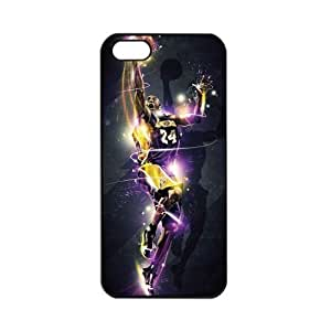 NBA Los Angeles Lakers Kobe Bryant Apple iPhone 5 TPU Soft Black or White cases for basketball Lakers fans (Black)