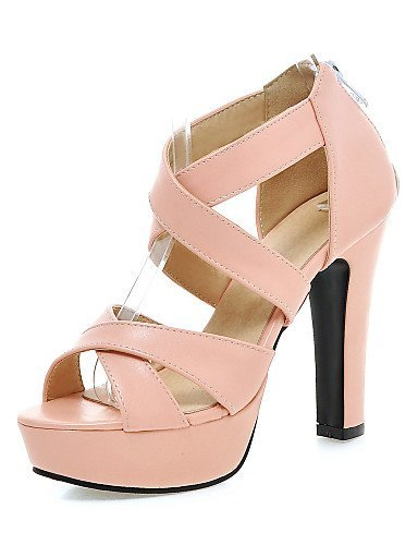 ShangYi Women's Shoes Leatherette Chunky Heel Heels Sandals Casual Black / Pink / White Black ukJR14MKY3