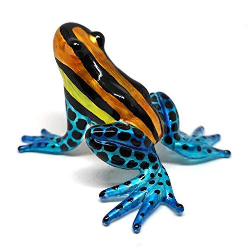 ZOOCRAFT Glass Figurine Frog Poison Dart Animals Hand Blown Painted Art Miniature Garden Decor Statue Orange&Blue - Orange Hand Blown Glass Art