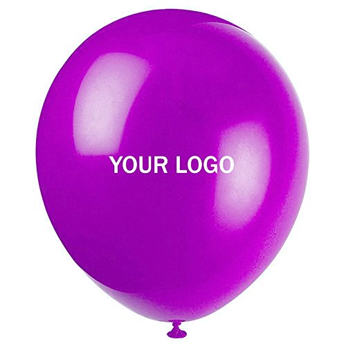 Custom Balloons Photo Print Party Balloons 200 Pack Birthday Wedding Shower Balloons (Purple)]()