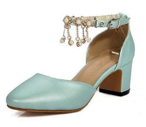 AllhqFashion Damen Weiches Material Niedriger Absatz Schnalle Rein Pumps Schuhe Aprikosen Farbe
