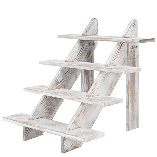 MyGift 4-Tier Whitewashed Wood Stair Shelf & Display Riser (Rustic Wood Cupcake Stand)