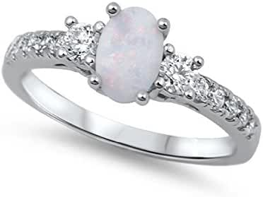 Oval Center Simulated Opal Ring Sterling Silver (Color Options, Sizes 3-13)