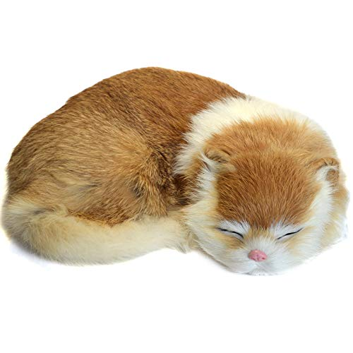 STP-US Realistic Cat Lifelike Kitten Plush Soft Rabbit Fur Furry Pet Animal Sleeping Synthetic Figurine (Yellow)