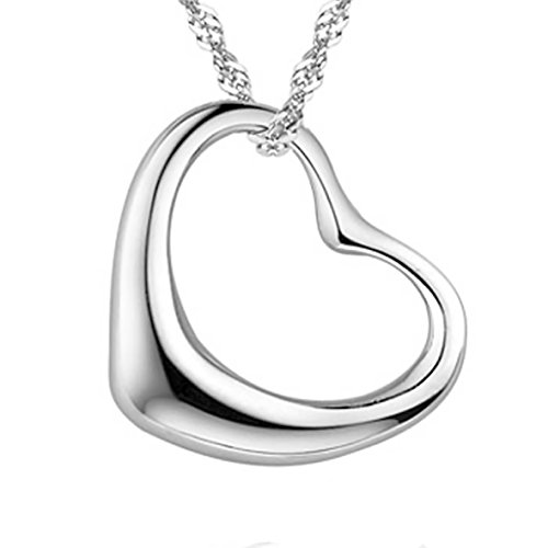 Pearl of Dream Perfect Love Open Heart [Large Size] Sterling Silver Pendant Necklace ()
