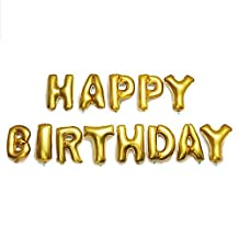 Fecedy Cute Gold Alphabet Letters foil Balloons Happy Birthday Party Decoration Supplies