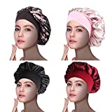 1Pack/2Pack/4Pack Luxury Wide Band Satin Bonnet Cap Comfortable Night Sleep Hat Hair Loss Cap