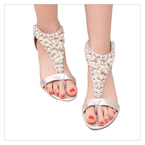 QQFLRB& Sale ! Summer Open Toe Rhinestone Zipper Pearl Beaded Wedges Sandals Women Shoes High Heel Studded Gold - Zipper Carmen