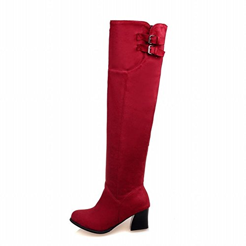 Latasa Womens Faux Suede Chunky Heels Tall Boots With Zipper Red gzM1Ik5zXv
