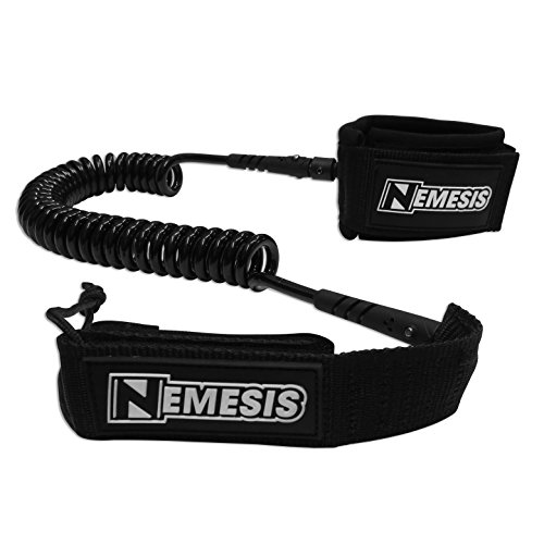Own the Wave 'The Nemesis' Premium 10' Stand Up Paddle Leash Coiled - Stainless Steel Double Swivels and Triple Rail Savers - for Paddleboarding and Surfing (Black) (Sup Cord)