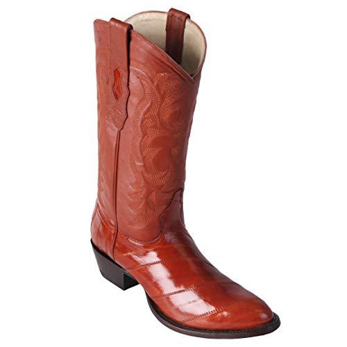 (Los Altos boots Mens EEL Round Toe Western Cowboy Boot Cognac 11 D)