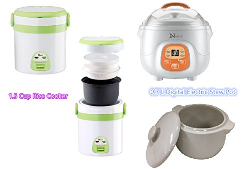 (HNDTEK COMBO SET 1.5 Cup Rice Cooker And Mini Slow Cooker Digital Electric Stew Pot 0.7L ,For Travel , Personal Use.)