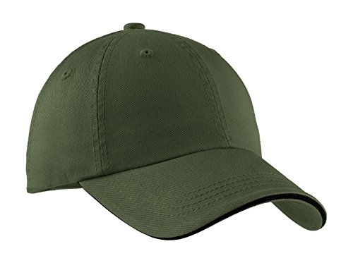Port Authority Men's Sandwich Bill Cap with Striped Closure OSFA Olive/Black